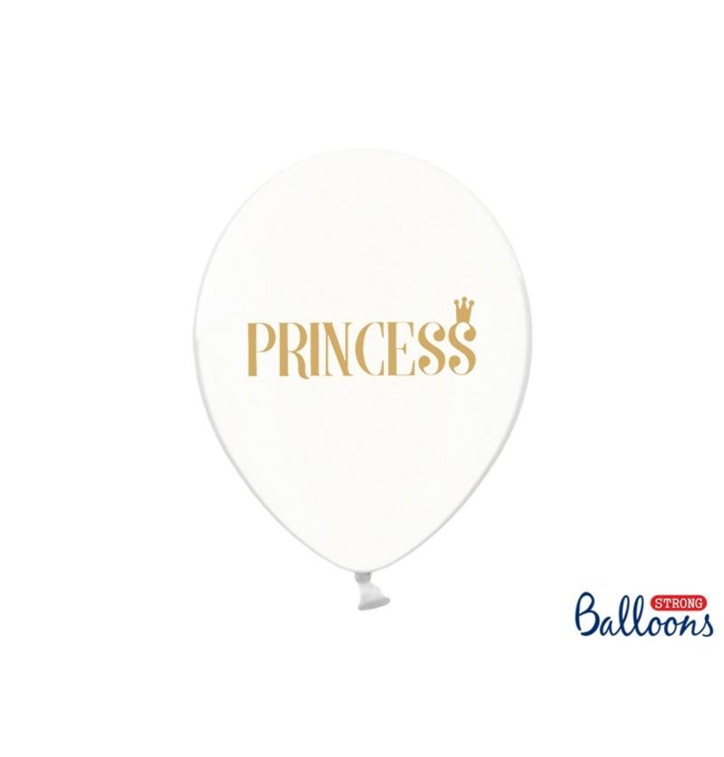 """Set de 6 globos de látex """"PRINCESS"""" transparente"""