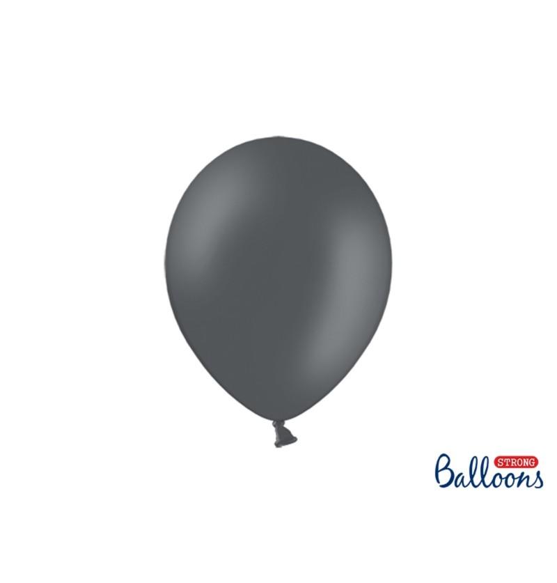 Set de 10 globos extra resistentes gris pastel metalizado
