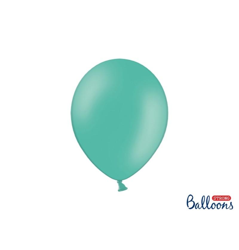 Set de 100 globos extra resistentes azul aguamarina pastel metalizado