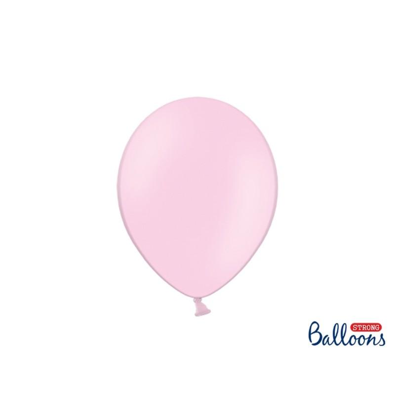 Set de 50 globos extra resistentes rosa bebé metalizado