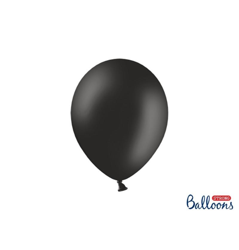 Set de 10 globos extra resistentes negro pastel metalizado