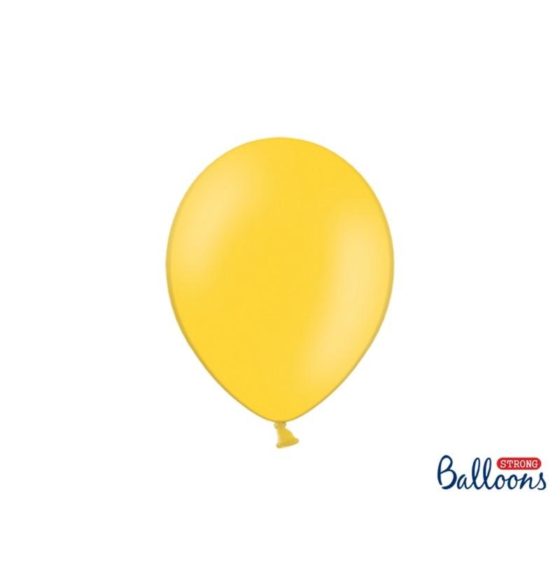 Set de 100 globos extra resistentes amarillo metalizado