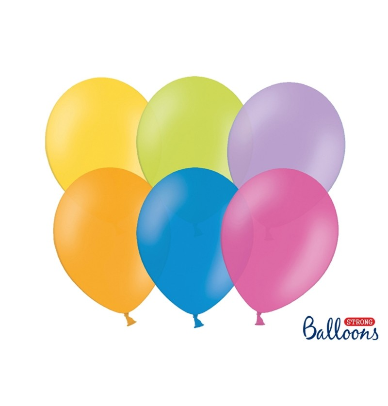 Set de 100 globos extra resistentes colores pastel surtidos metalizado