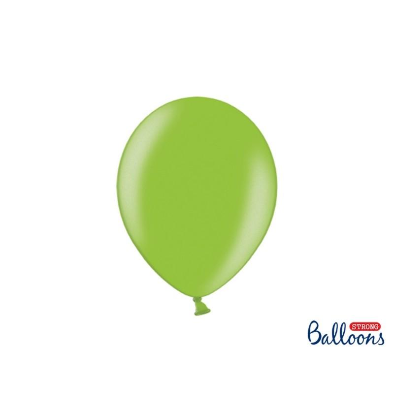 Set de 100 globos extra resistentes 27 cm verde brillante metalizado