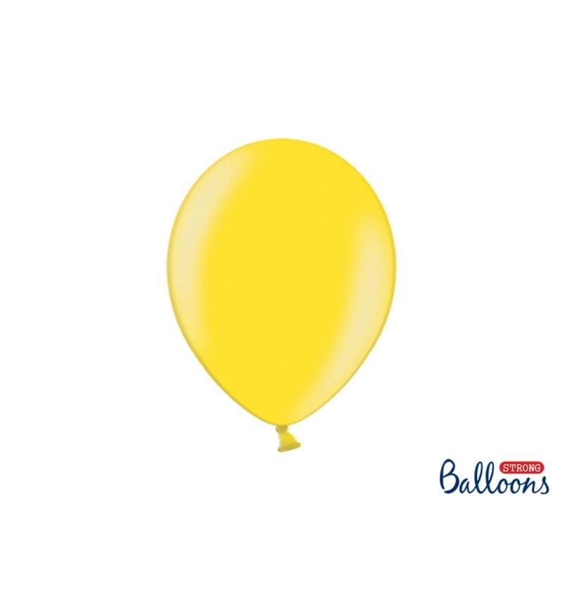 Set de 100 globos extra resistentes 27 cm amarillo claro metalizado