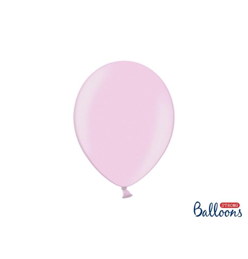 Set de 100 globos extra resistentes rosa pastel metalizado