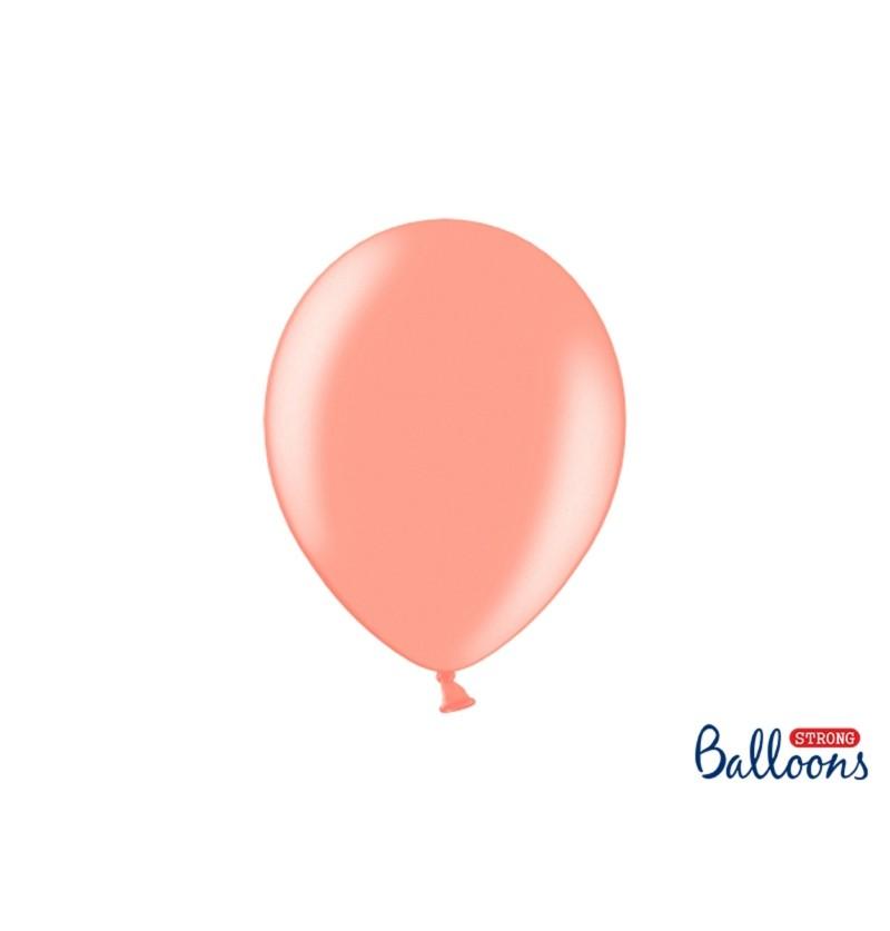 Set de 100 globos extra resistentes rosa dorado