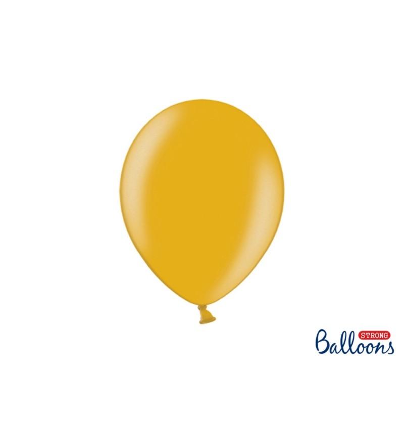 Set de 100 globos extra resistentes oro metalizado
