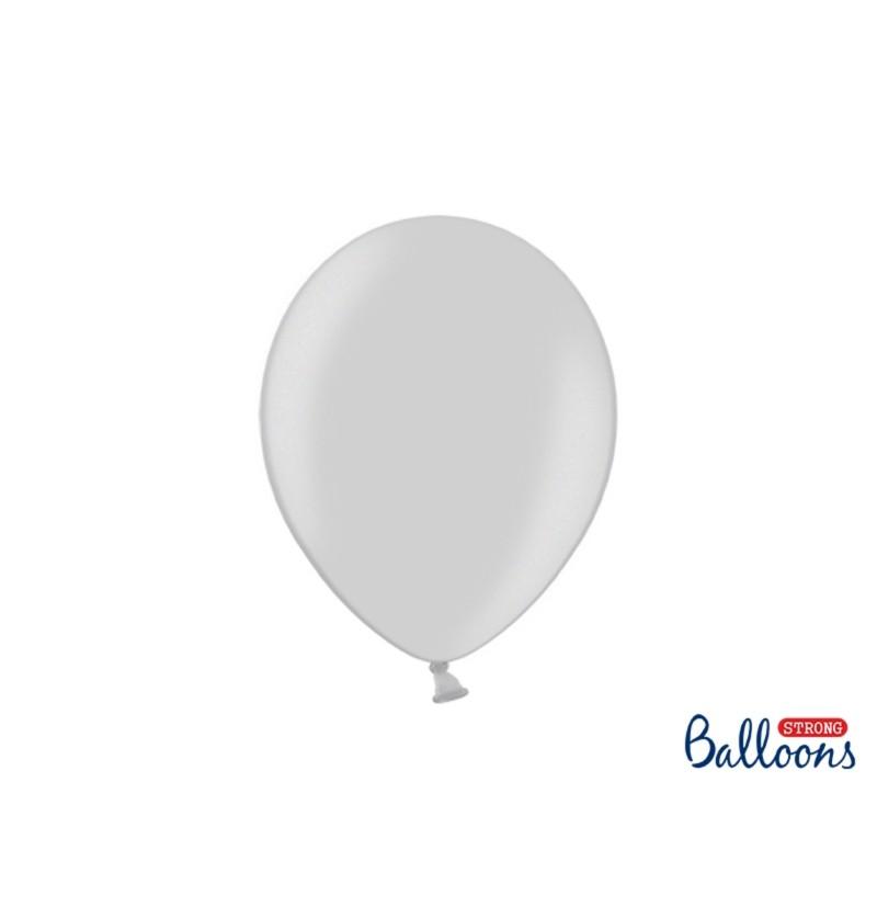 Set de 10 globos extra resistentes gris brillante