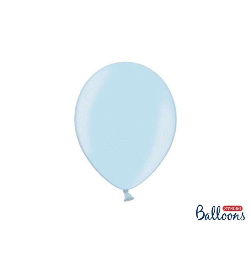Set de 100 globos extra resistentes 27 cm azul pastel metalizado