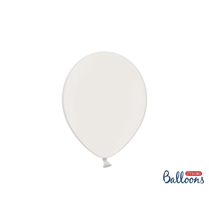 Set de 10 globos extra resistentes 27 cm blanco metalizado