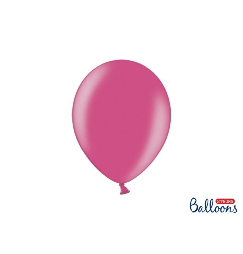 Set de 10 globos extra resistentes rosa metalizado