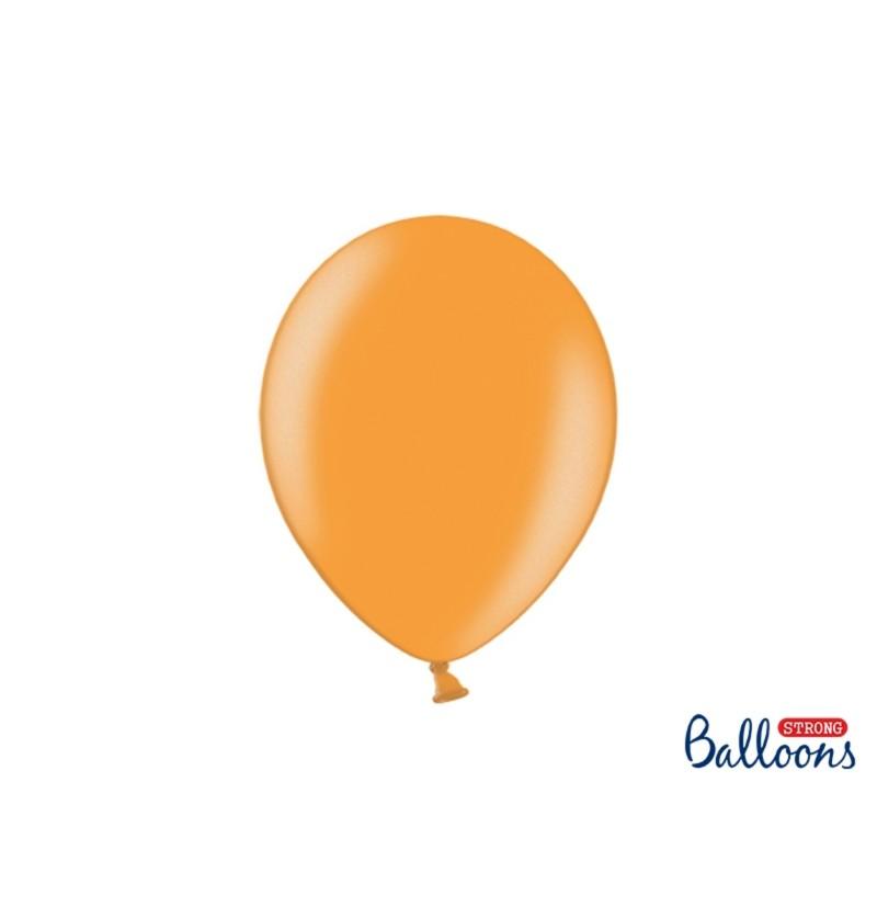 Set de 10 globos extra resistentes 27 cm naranja claro metalizado