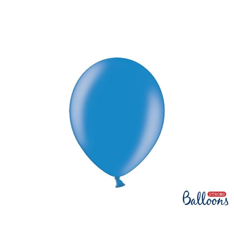 Set de 10 globos extra resistentes 27 cm azul semiclaro metalizado