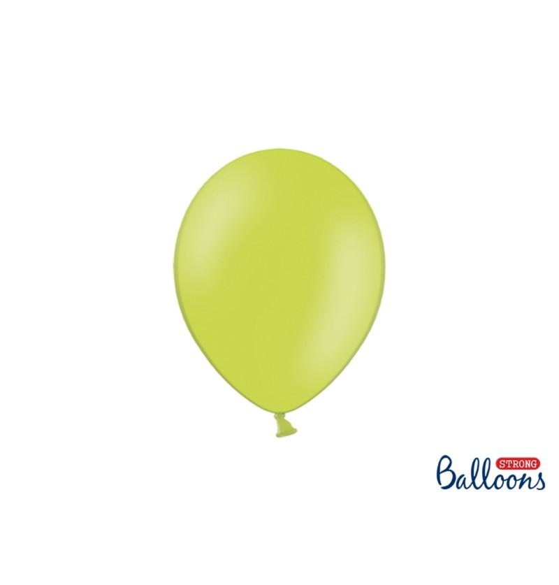 Set de 100 globos extra resistentes verde lima metalizado