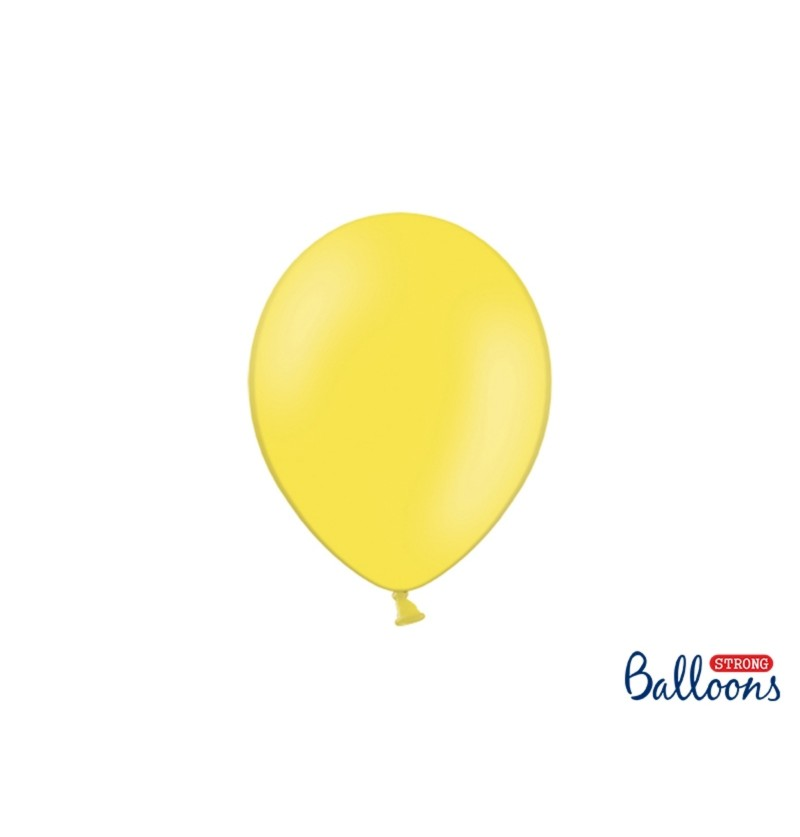 Set de 100 globos extra resistentes amarillo claro pastel
