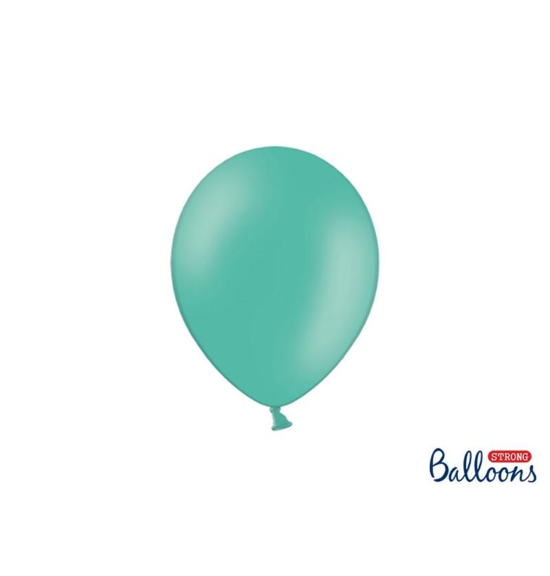 Set de 100 globos extra resistentes azul aguamarina metalizado