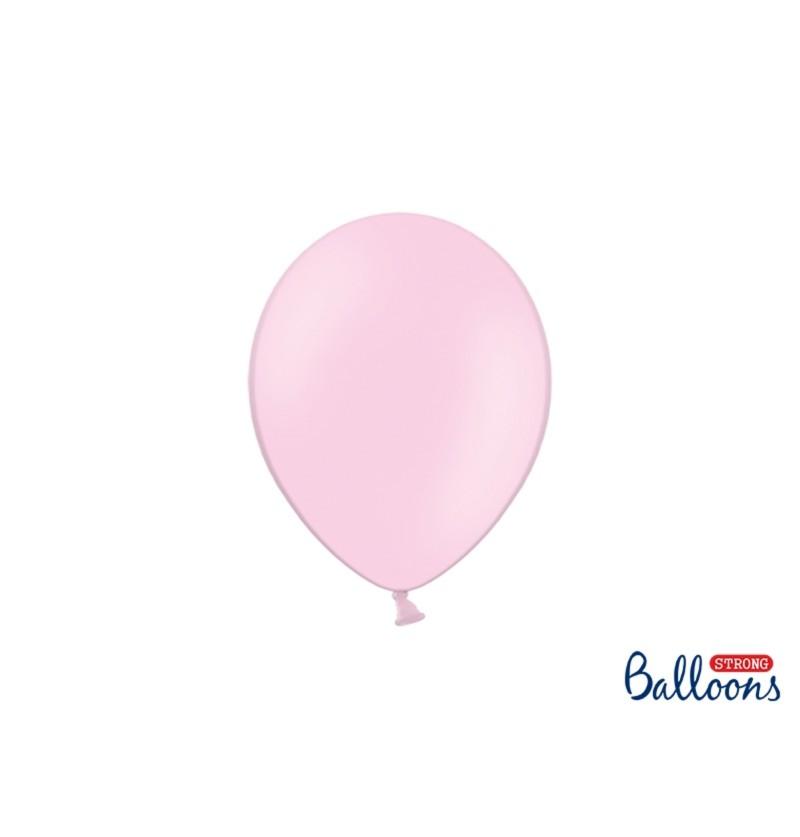 Set de 100 globos extra resistentes rosa bebé metalizado
