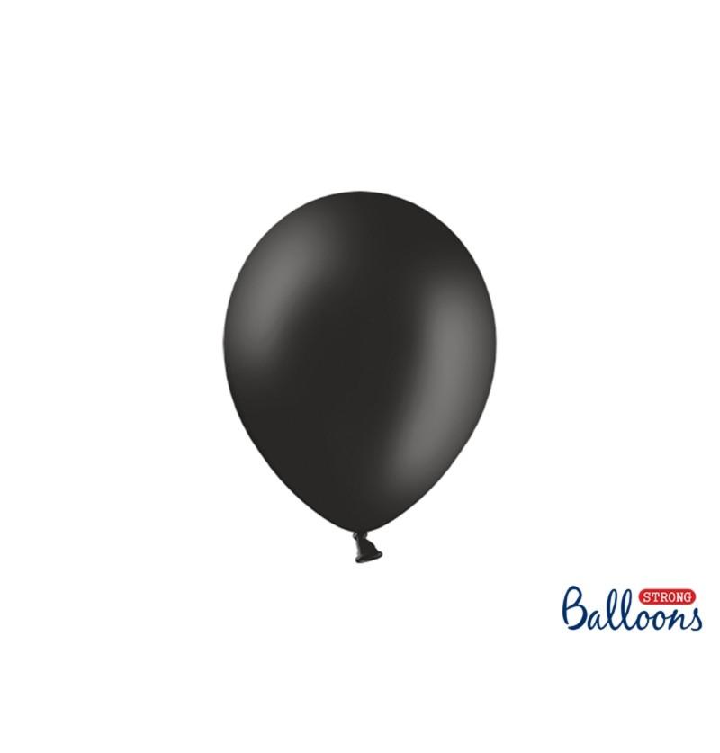 Set de 100 globos extra resistentes 23 cm negro pastel metalizado