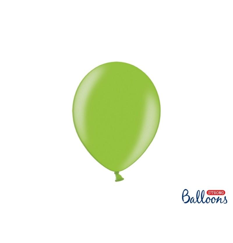 Set de 100 globos extra resistentes 23 cm verde brillante metalizado