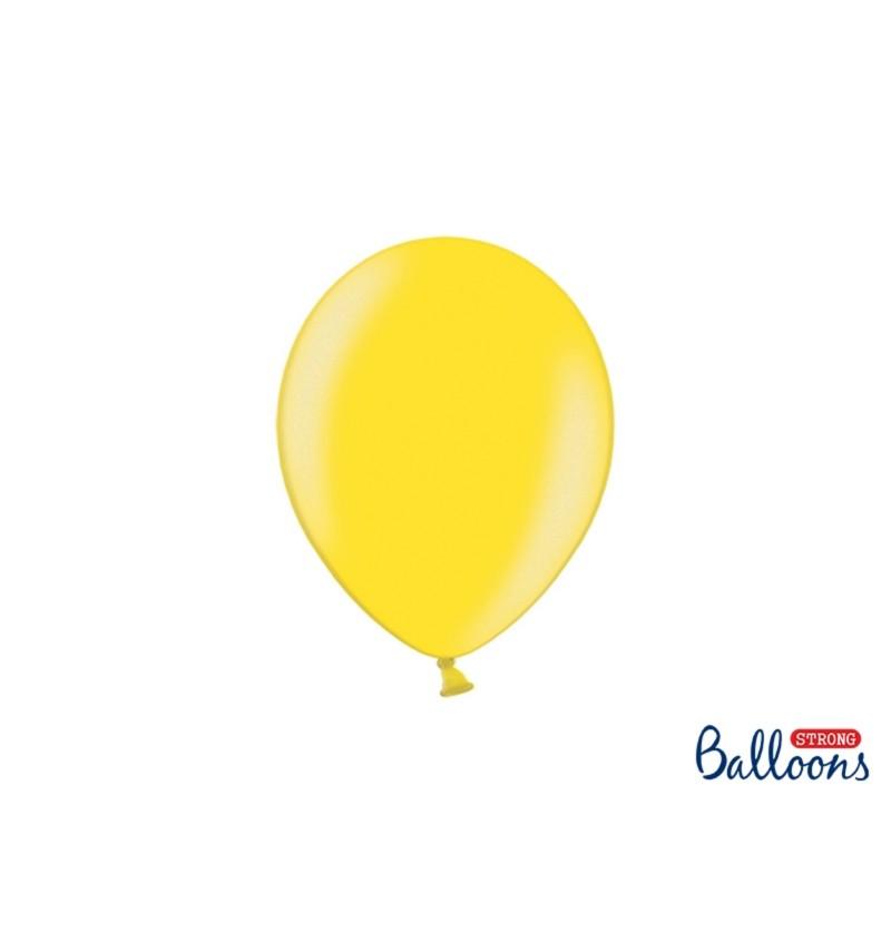 Set de 100 globos extra resistentes amarillo claro metalizado