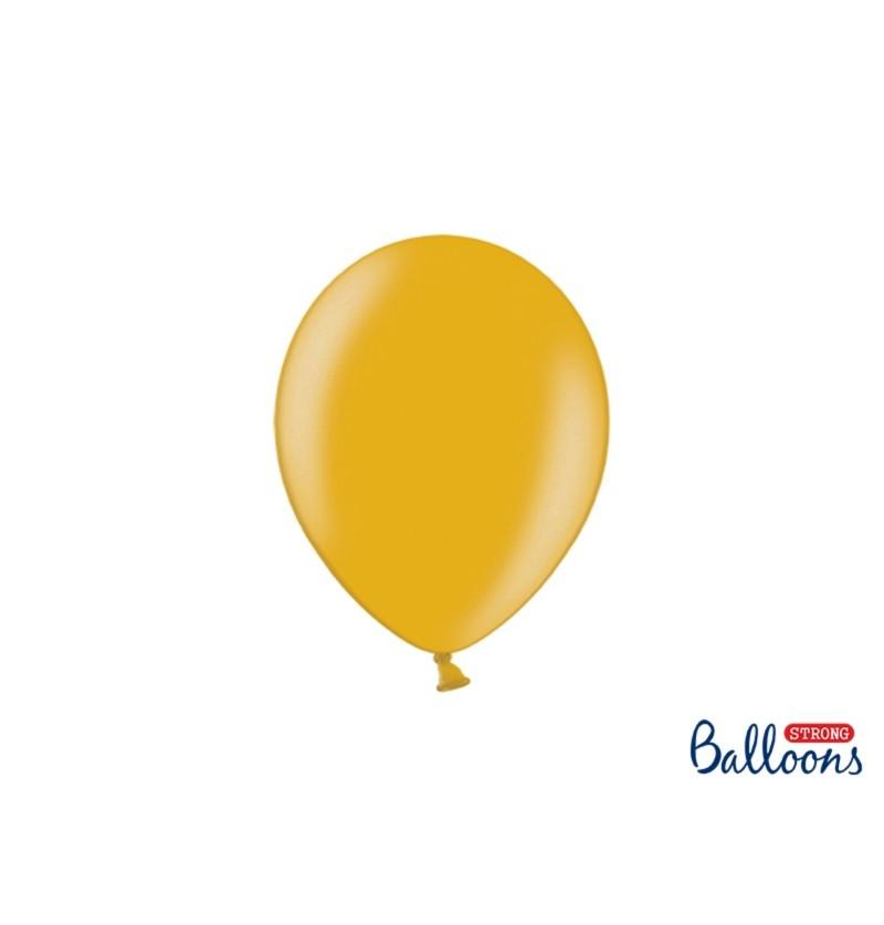 Set de 100 globos extra resistentes 23 cm dorado metalizado