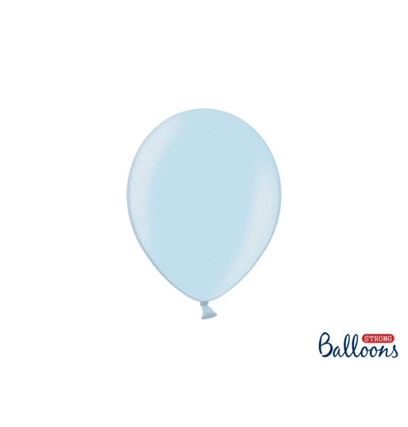 Set de 100 globos extra resistentes azul pastel claro metalizado