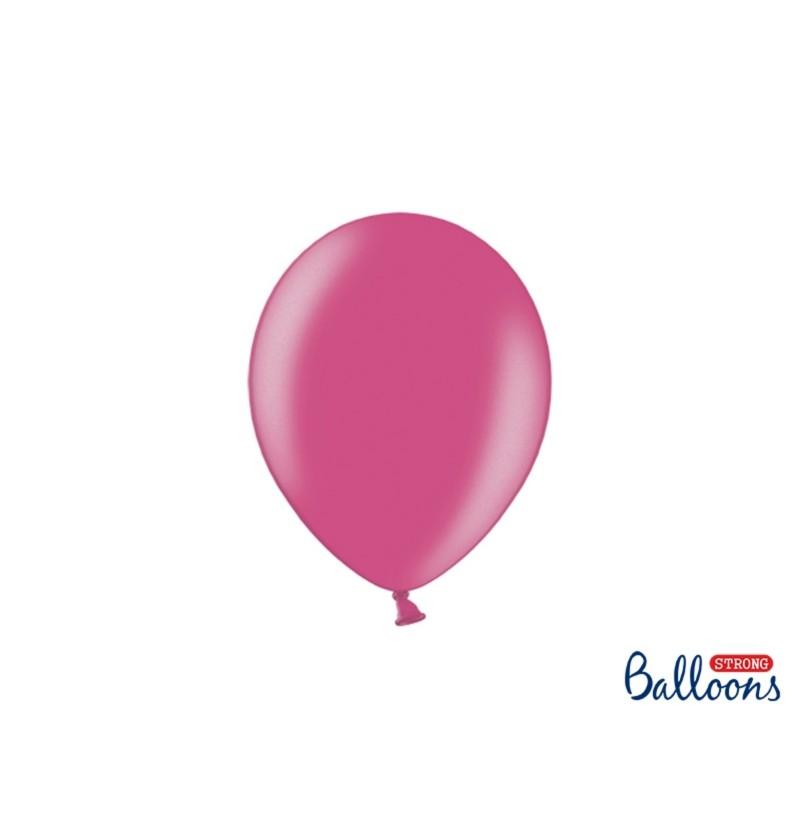 Set de 100 globos extra resistentes 23 cm rosa metalizado