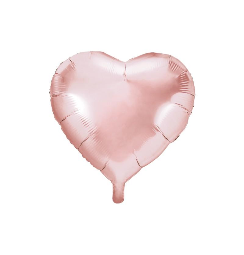Globo de foil 45 cm con forma de corazón rosa dorado