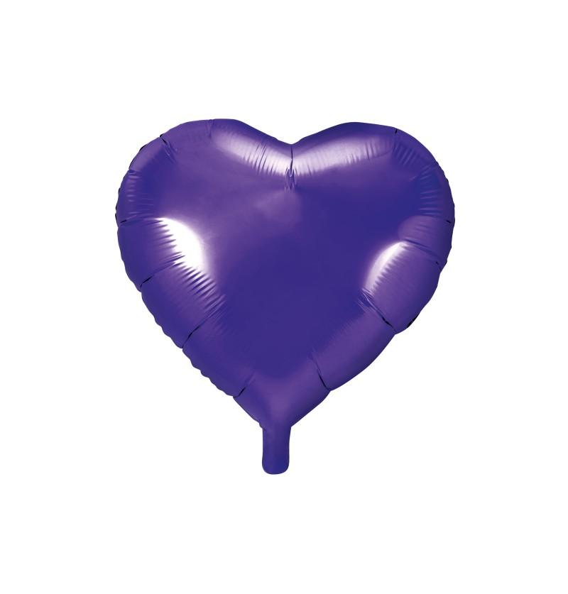 Globo de foil con forma de corazón violeta