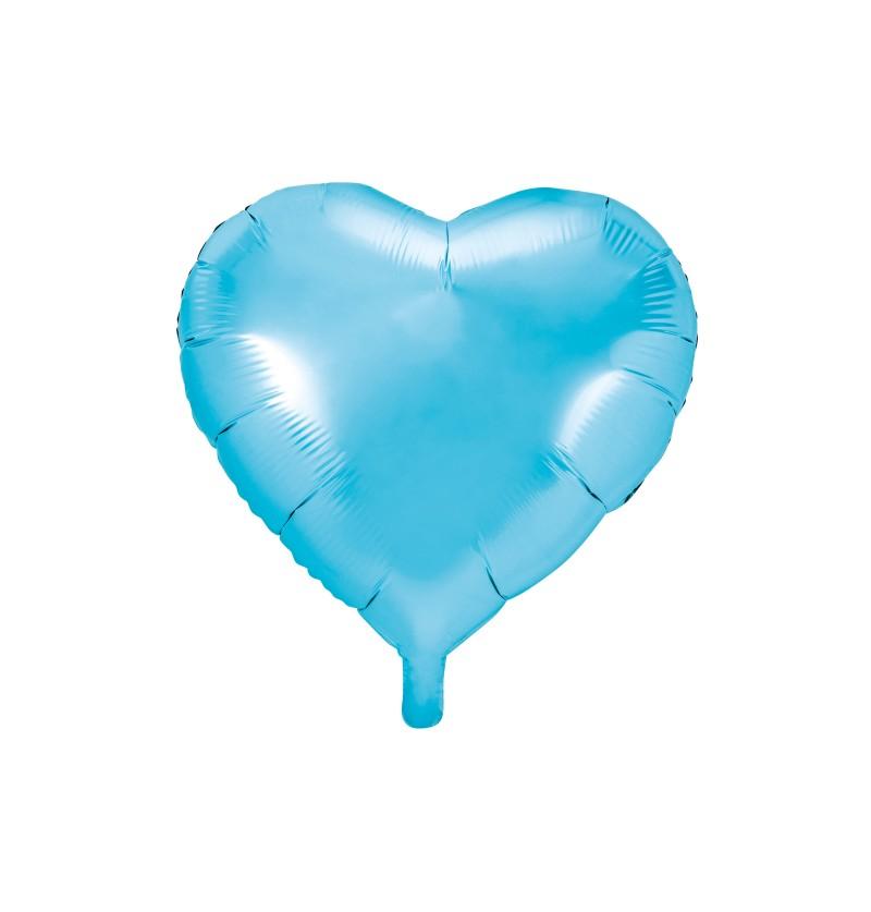 Globo de foil con forma de corazón azul cielo