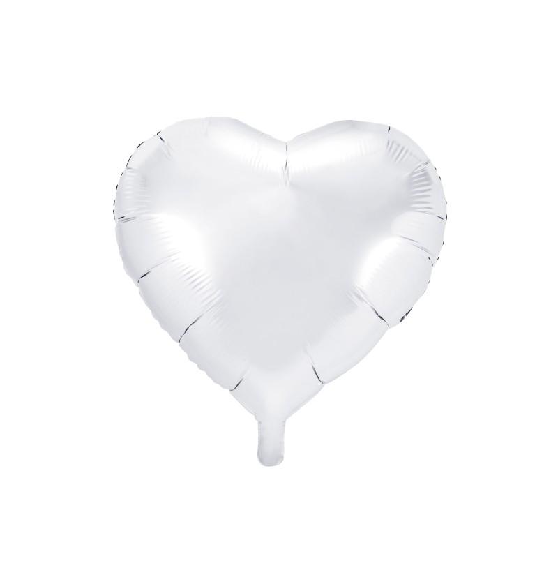 Globo de foil 45 cm con forma de corazón blanco
