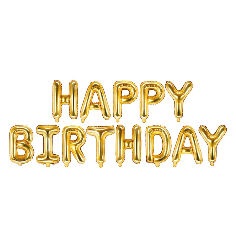 "Globo foil ""Happy Birthday"" dorado"