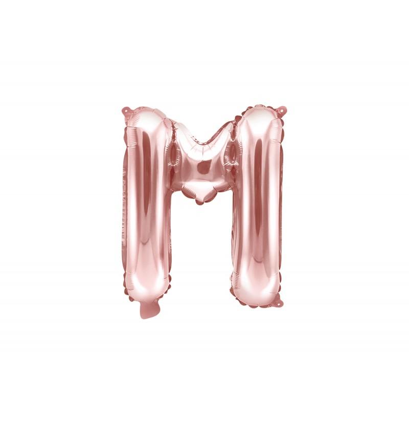Globo foil letra M rosa dorado