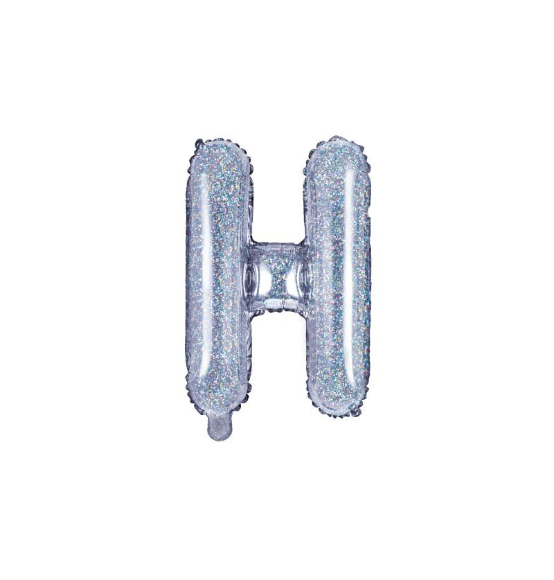 Globo foil letra H plateado con purpurina