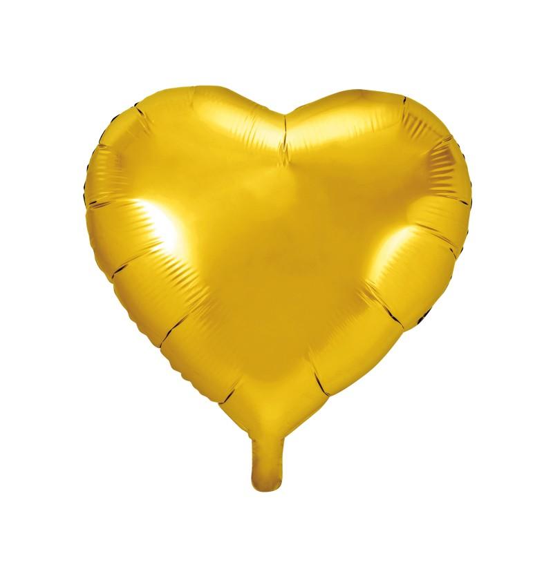 Globo de foil con forma de corazón dorado
