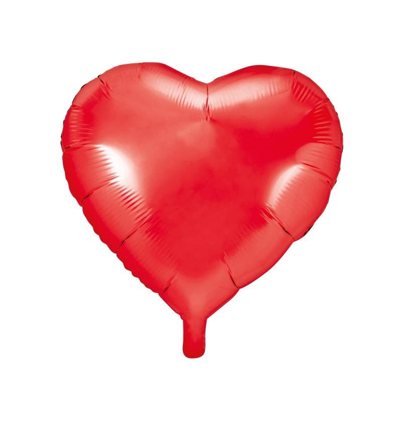 Globo de foil con forma de corazón rojo brillante
