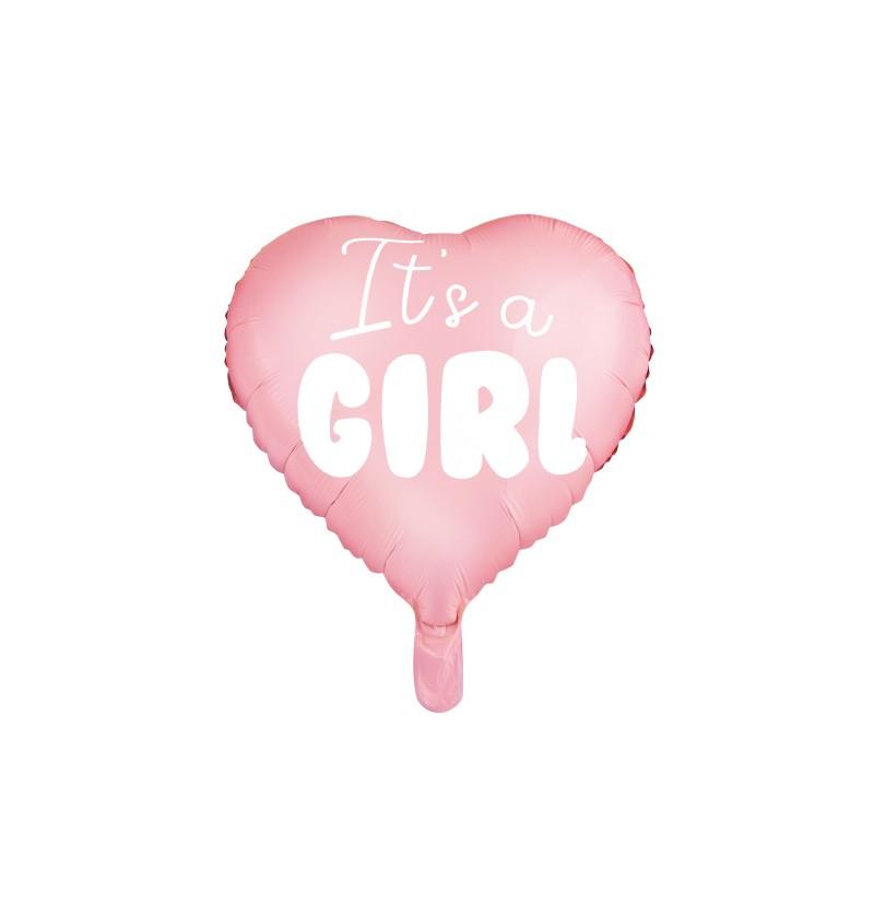 "Globo de foil con forma de corazón ""It's a girl"""