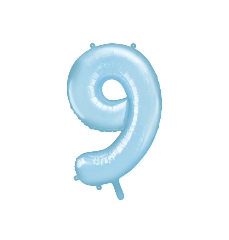 """Globo foil """"9"""" en azul claro 86 cm"""