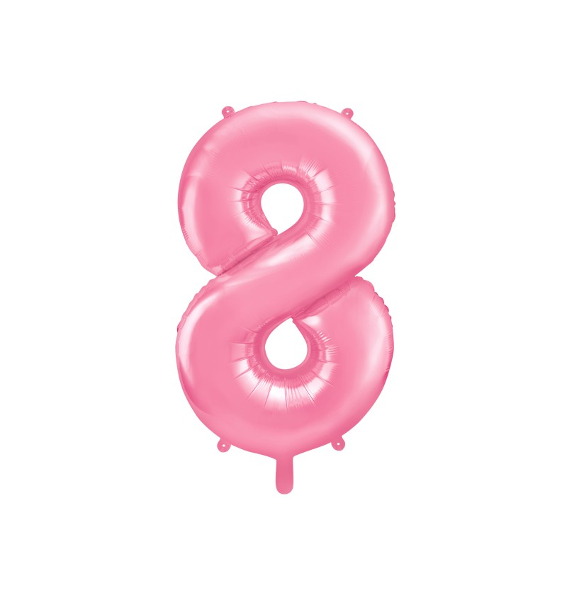 """Globo foil """"8"""" en rosa 86 cm"""