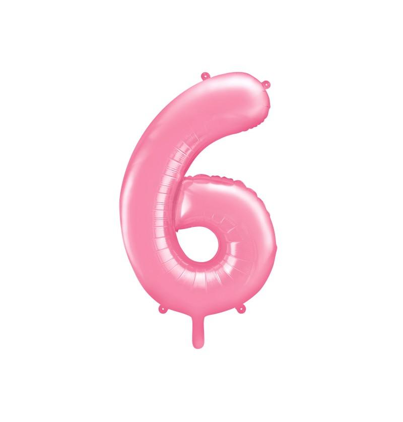 """Globo foil """"6"""" en rosa 86 cm"""