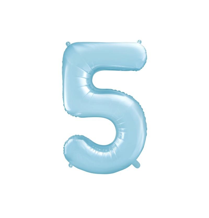 """Globo foil """"5"""" en azul claro 86 cm"""