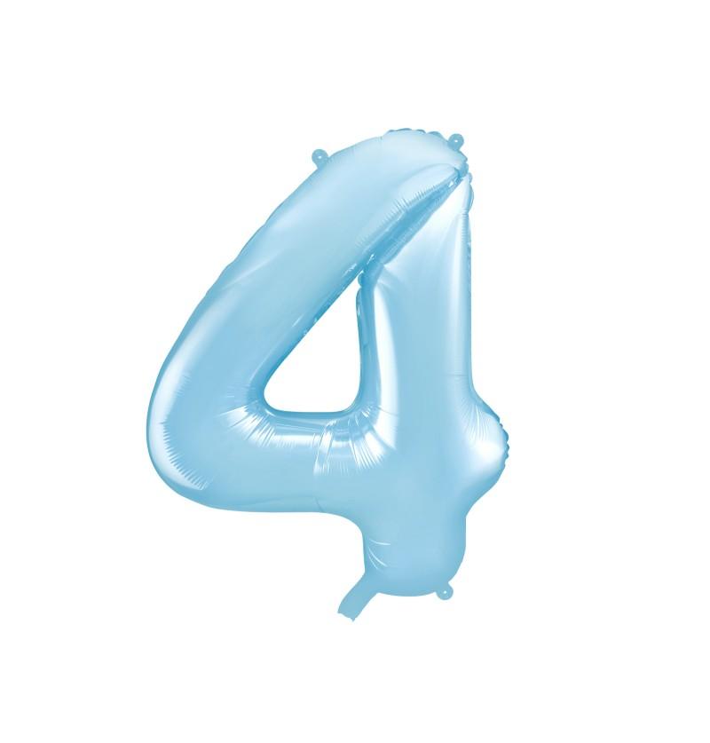"""Globo foil """"4"""" en azul claro 86 cm"""