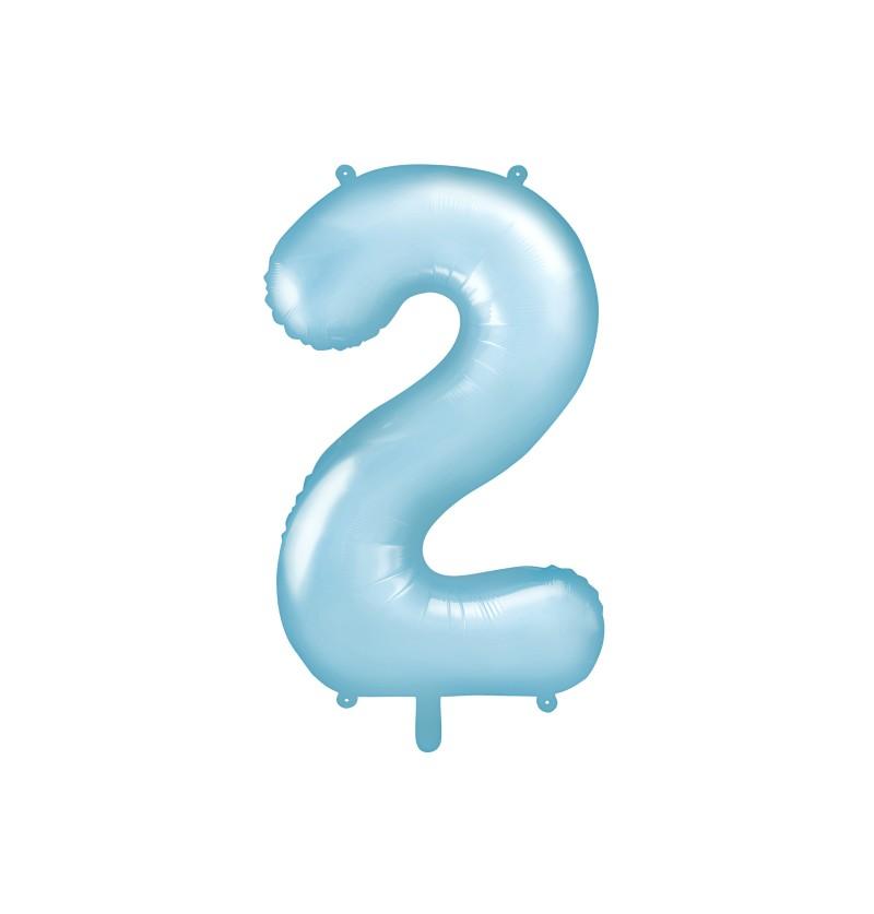 """Globo foil """"2"""" en azul claro 86 cm"""