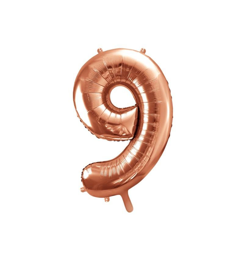 """Globo foil """"9"""" rosa dorado de 86 cm"""