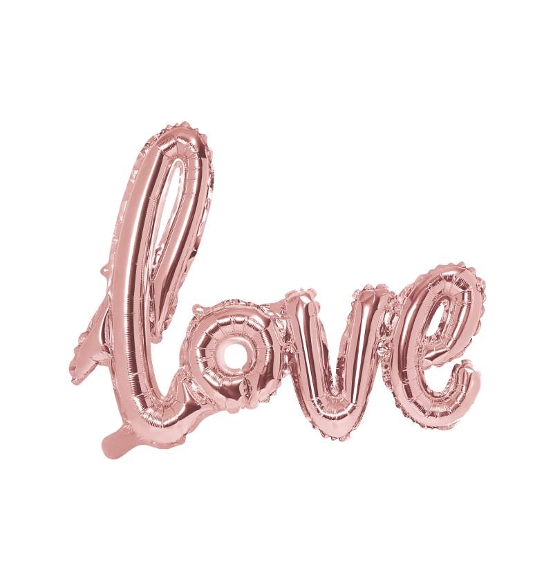 """Globo foil """" LOVE"""" rosa dorado"""