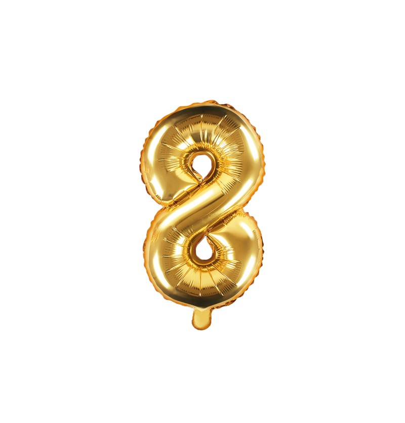"Globo foil ""8"" en dorado 35 cm"