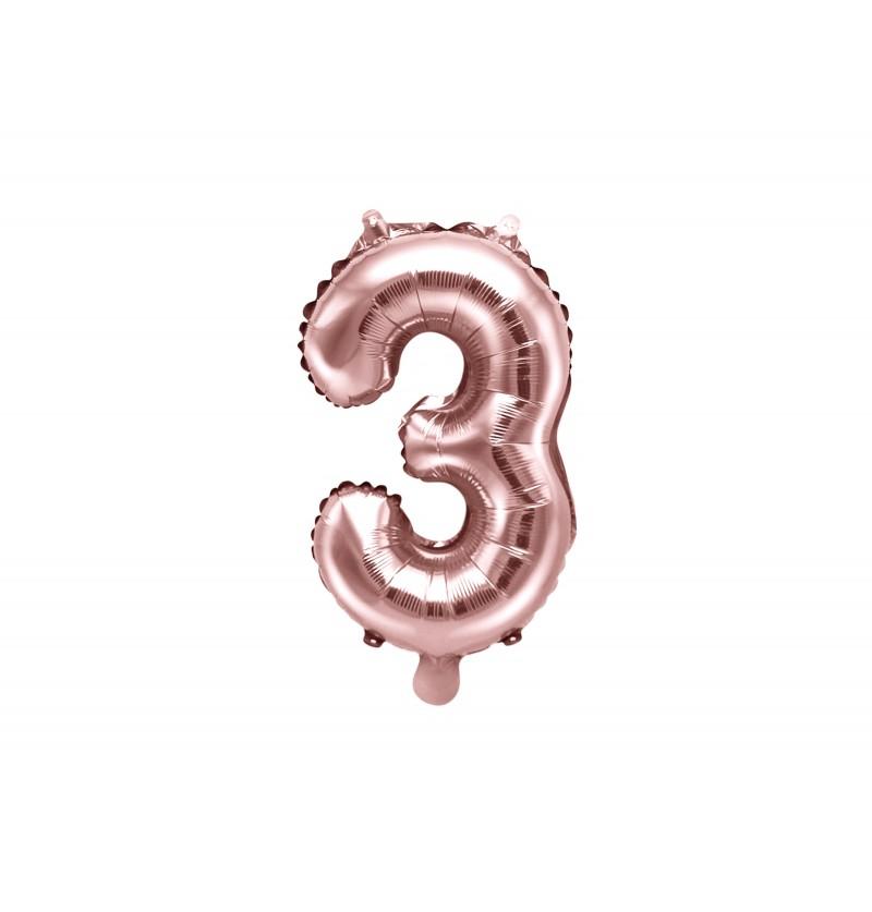 "Globo foil ""3"" rosa dorado"