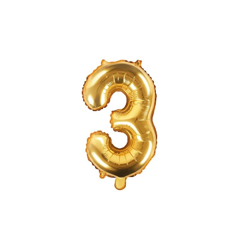 "Globo foil ""3"" dorado"