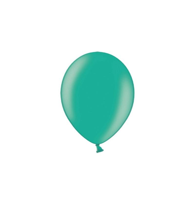 Set de 100 globos color verde de 23 cm
